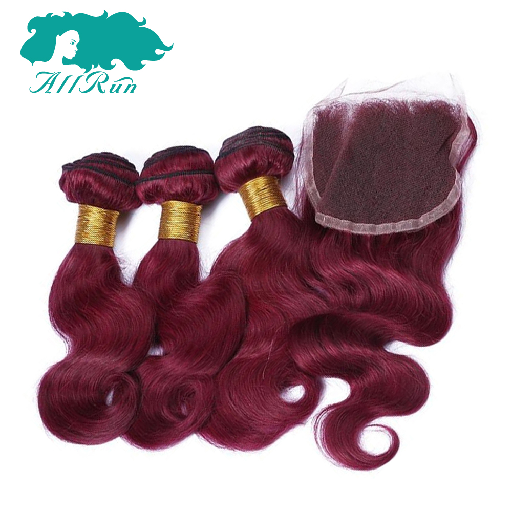 Allrun Pre-Colored Burg 3 Bundles Brazilian Body Wave with 4*4 Lace Closure Hot Selling Brazilian Remy Hair