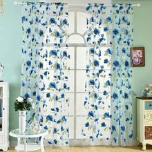 100 Polyester Tulle Curtain Summer Floral Print Perspective Balcony Living Room Drape Panel Scarf Curtains