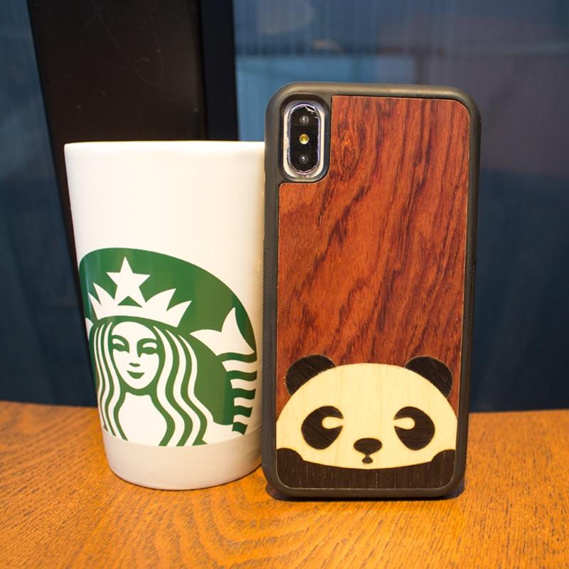 GS1-nimal panda bois coque pour téléphone original mignon individuel téléphone étui pour iphone 6 s 7 8 plus X S écran de protection en bois