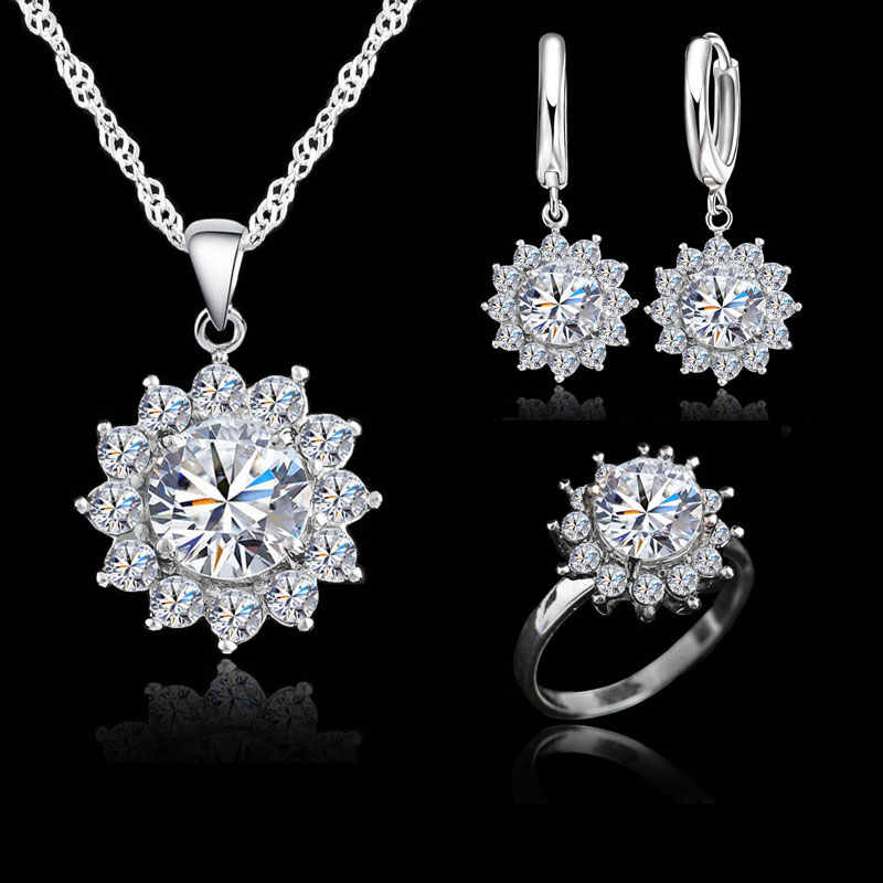 New Fashion Sun Flower Cubic Zirconia Genuine 925 Sterling Silver Jewelry Sets Earrings Pendant Necklace Rings Size6-9