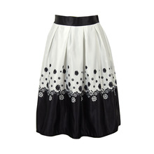 Beautiful Solid Color New Satin Fashion Skirt Floral Printed Elastic High Waist A line Midi Knee