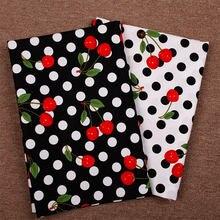 Leo & lin diy artesanato pano tecido preto/branco grande bob alguns vermelho cereja o algodão impresso tissus 50cm
