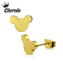 Chereda Stainless Steel Cartoon Mickey Stud Earring for Women Girl Cute Animal Kid Birthday Gift Earrings Female Boucle doreill