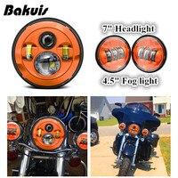 Bakuis DOT Harley 7 4 1/2 Inch Led Headlights Drive Fog Light Orange Set For Harley Davidson Touring