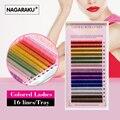 Nagaraku 16 linhas/bandeja, 8 Cores, Rainbow Colorido Extensão Dos Cílios, cílios de cor, colorido extensão dos cílios