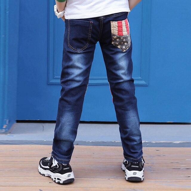 Детские брюки джинсы 2017 Модные Мальчики Джинсы для Весна Осень Дети Джинсовые Брюки 4-10 год