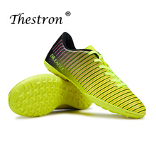 Thestron Men Soccer Shoes Football Rubber Bottom Indoor Breathable Turf Trainers Yellow Red