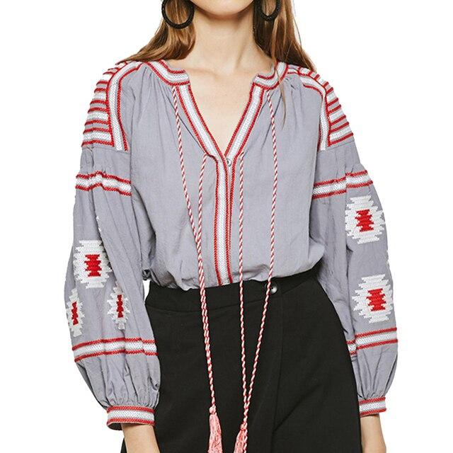 chic BOHO women Blouse geometirc embroidered Cotton shirt nine quarter lantern sleeve five colors loose Casual Women's Blouses