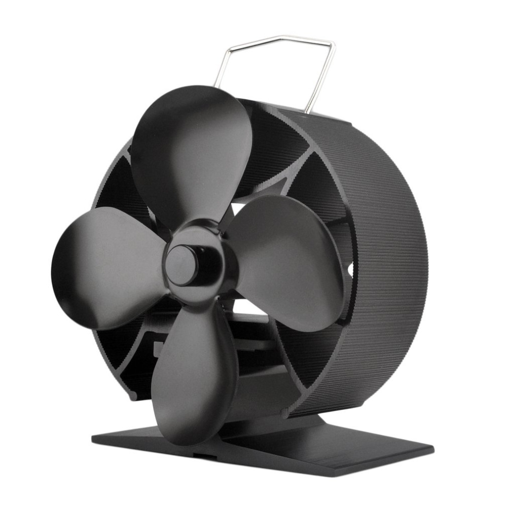 Round 4 Blades Heat Powered Stove Fan Fu