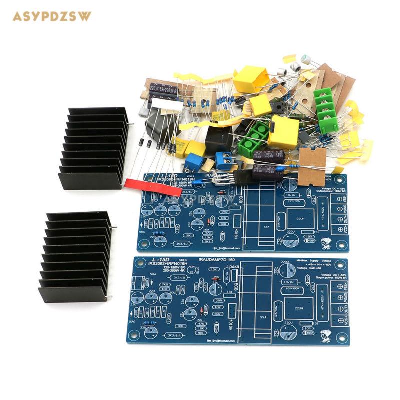 2 channel L15D Digital power amplifier IRS2092 IRFI4019H Stero amp DIY Kit (2 PCS) 2 pcs channel l6 power amplifier diy kit low noise ultra linear bipolar transistor amplifier