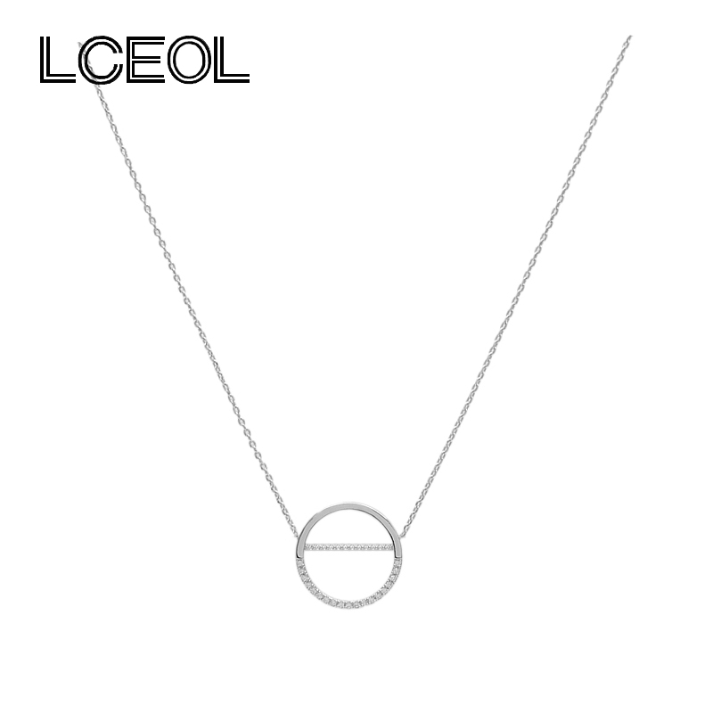 LCEOL  Hot Sell 3 Colors Circle Pendant Necklace Gifts Mini CZ Diamante Paved Setting Simple Letter O Shape Collarbone Necklaces