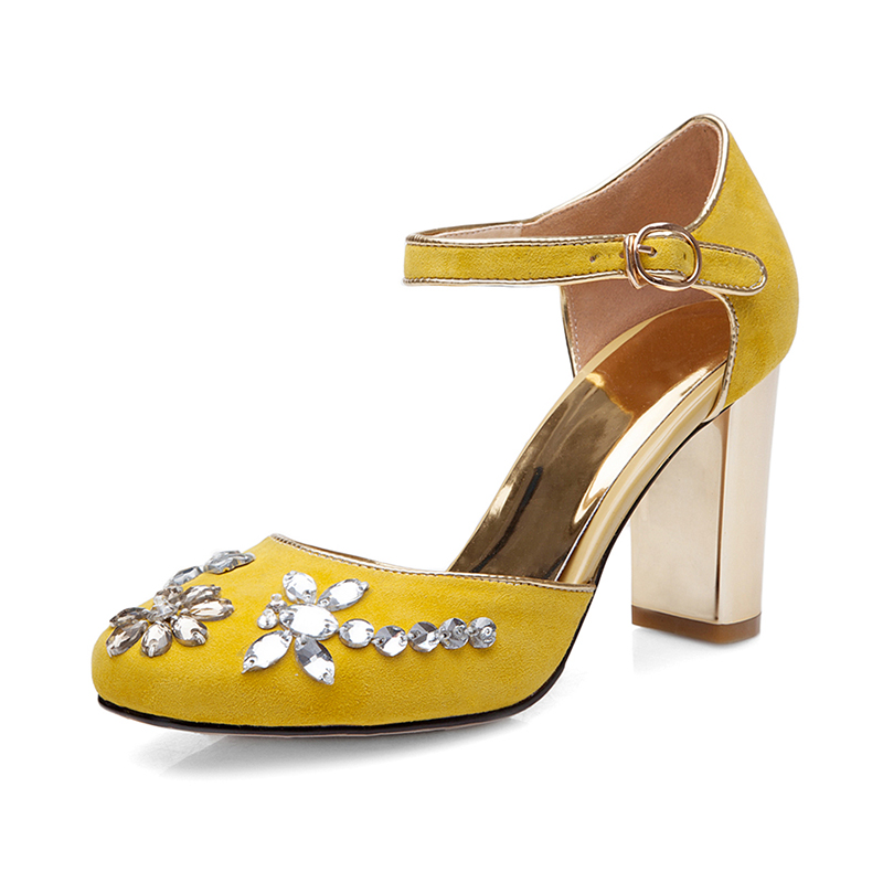 New beading flower crystal gladiator thick super high heel round toe limit velvet strange style women high quality brand shoes in Women 39 s Pumps from Shoes