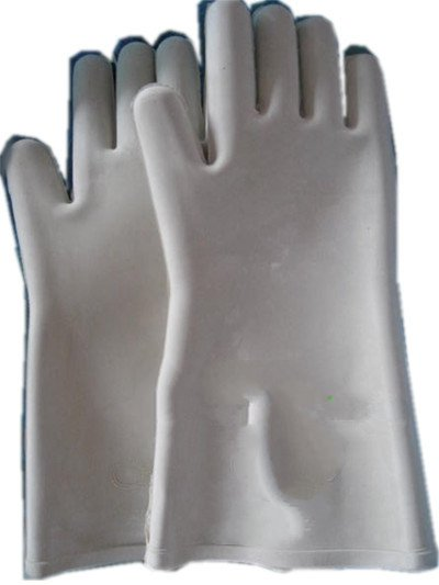 Genuine anti- rubber gloves 12KV high voltage insulation rubber strong labor supplies anti acid and alkali chemical corrosion fisheries agriculture latex rubber gloves labor supplies black