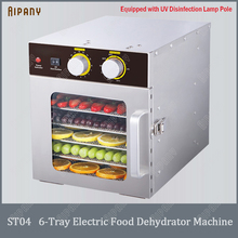 ST04 electric food dehydrator machine 6-tray fruit vegetable food dryer stainless steel#304 dryer 220V 110V UV disinfection 5 layers food dehydrator machine professional electric multi tier food preserver beef jerky maker fruit vegetable dry 220v