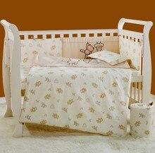 2016 New 7Pcs Cotton Baby Cot Bedding Set Newborn Cartoon Crib Bedding Detachable Quilt Pillow Bumpers Sheet Cot Bed Linen 4Size