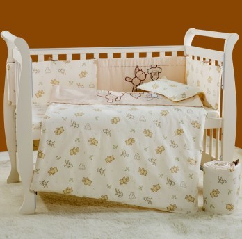 2016 New 7Pcs Cotton Baby Cot Bedding Set Newborn Cartoon Crib Bedding Detachable Quilt Pillow Bumpers Sheet Cot Bed Linen 4Size