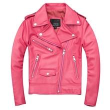 2019 Pink Women Slim Fit Biker's Leather Jacket Plus Size XXXL Genuine Sheepskin Spring Girls Short Motorcycle Leather Coat