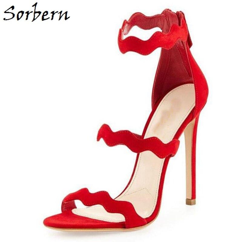 Chaussures Zipper Taille Gladiateur Noir Hauts Mujer Sorbern 2018 pourpre Sandalias Plus rouge Sandales vert Couleur Talons Femmes Personnalisée gris O0xww6EqX