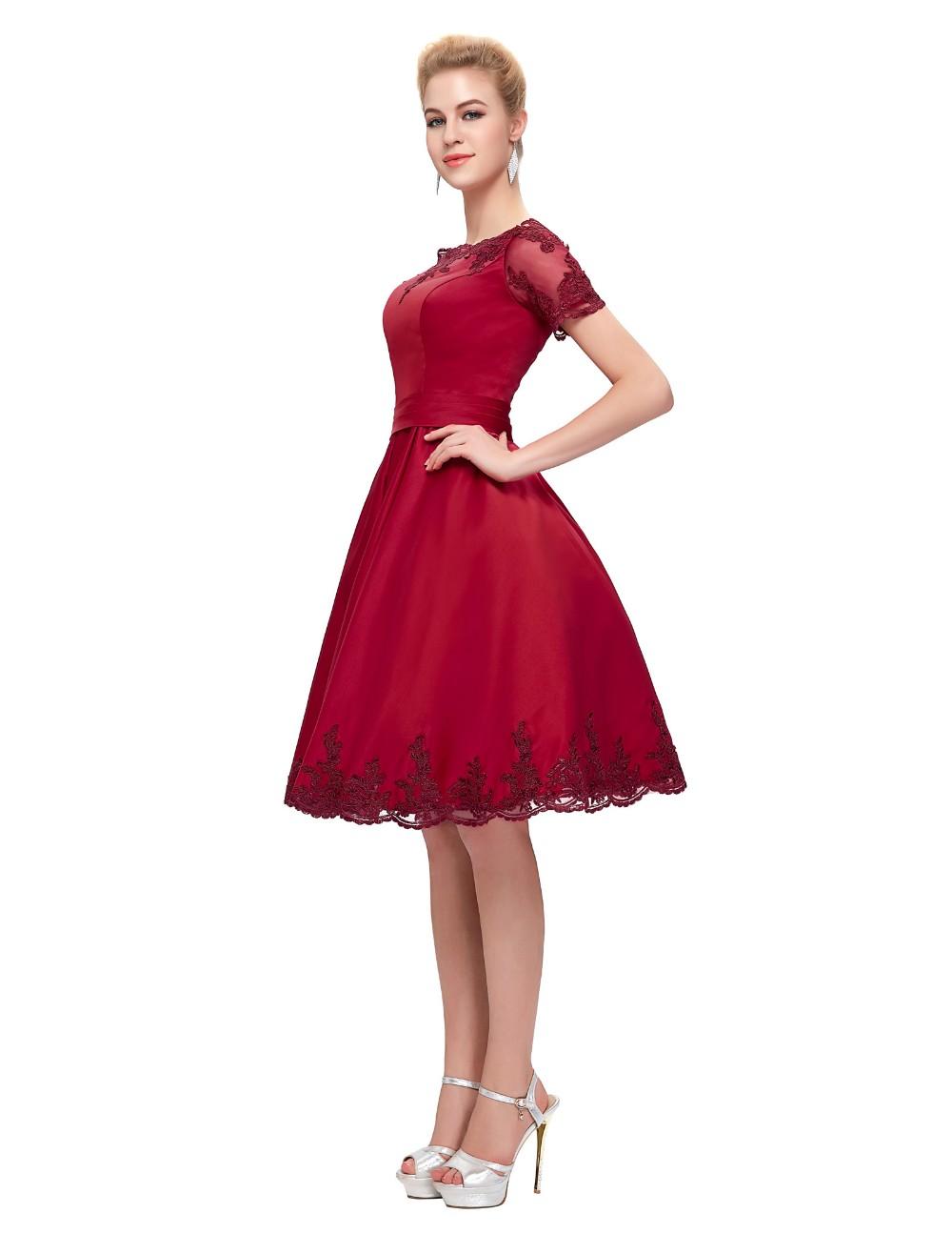 Short Cocktail Dresses 2018 Grace Karin Off The Shoulder robe de Cocktail Wedding Party Dress Satin Champagne Red Coctail Dress 7