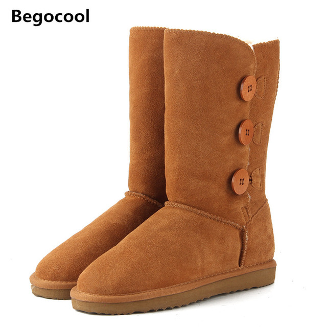 Classic Women Snow Boots Short Leather Winter Shoes Boot With Black Chestnut Gray Women's Fur Snow Boots Size Us 4-13