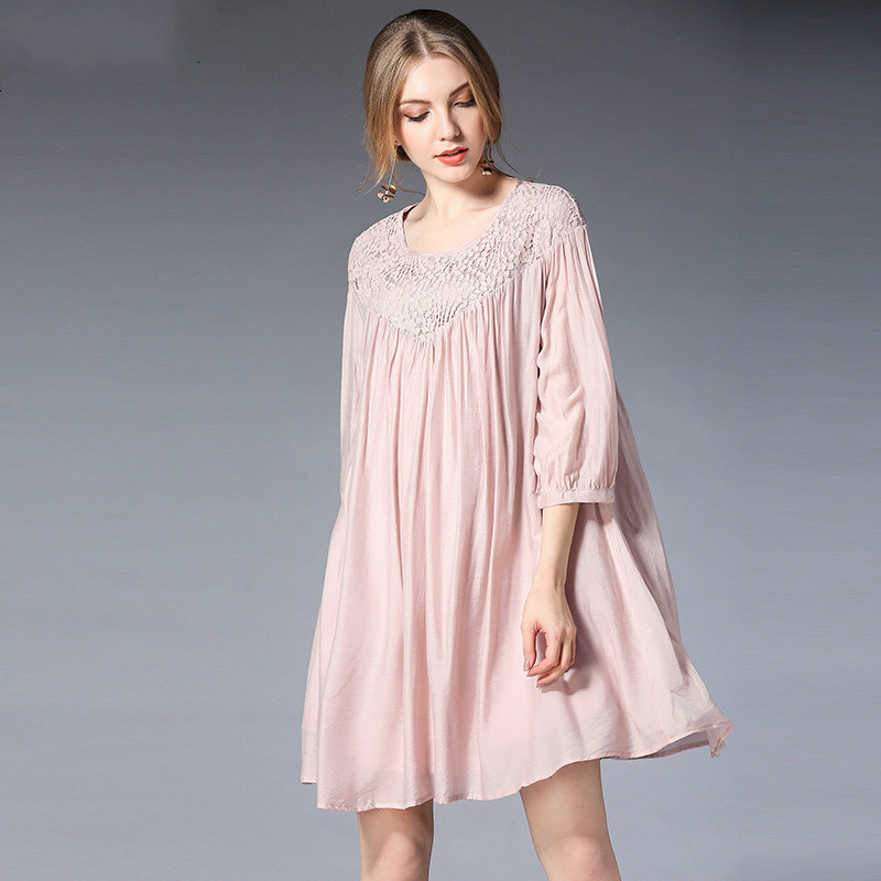 2018 New Spring Maternity Dress Loose Tencel Pink Pregnant Dress Fashion Lace Europe And America Women Maternity Dresses/Clothes maternity clothes new stely fashion loose pure color cloak jacket clothes for pregnant women coat