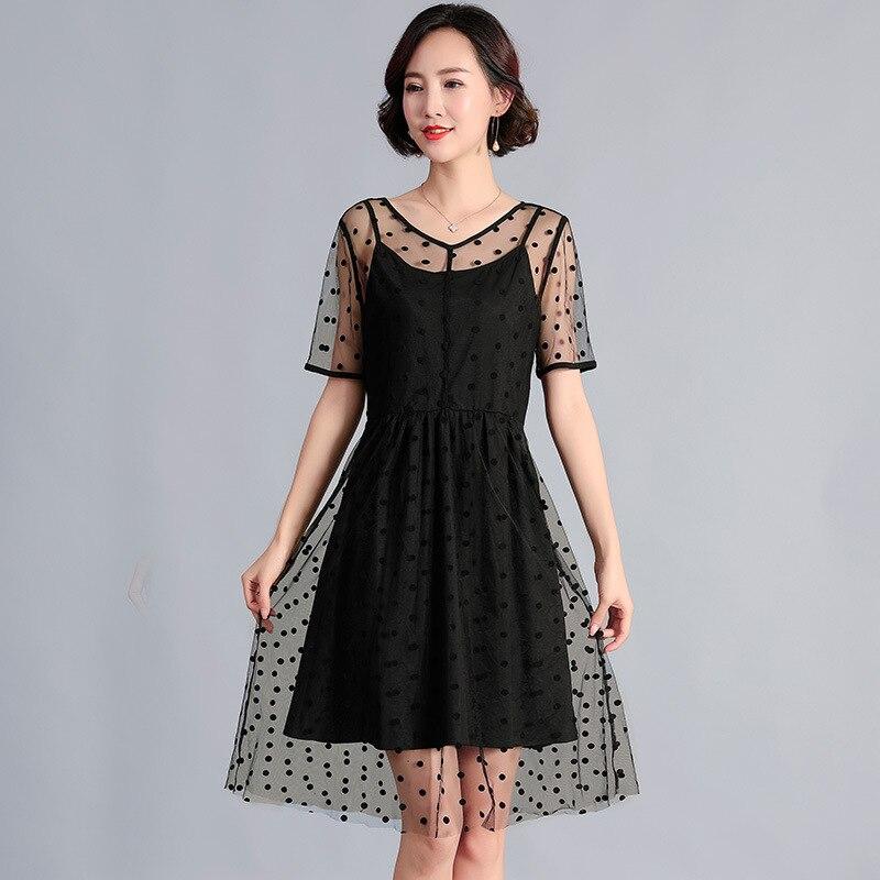 2019 été robe mi-longue belle à pois maille faux deux pure robe élégante robe de soirée grande taille vestidos de festa sukienki 5XL