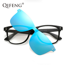 QIFENG Fashion Optical Eyeglasses Frame Men Women Clip On Magnets Polarized Sunglasses Myopia Eye Glasses Spectacle QF051