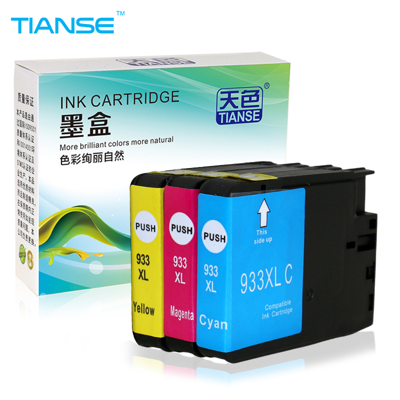 TIANSE ink cartridge for HP 932 XL 933 HP932XL for HP 932XL 933XL HP932XL For HP Officejet 6100 6600 6700 7110 7610 7612 Printer free shipping for hp 932 933 refillable ink cartridge with ink with permanent chips for hp officejet 6600 6700 ink jet printer