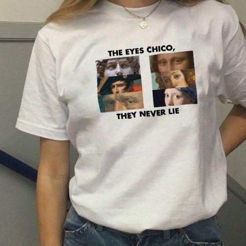 Kuakuayu HJN The Eyes Chico Then Never Lie Funny Printing Cotton T Shirt Man Women Funny Short Sleeve Short Tops Cool T-Shirt