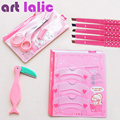 Makeup Beauty Kit Eyebrow Stencil Eyeliner Pencil Blade Cutter Trimmer FULL Set