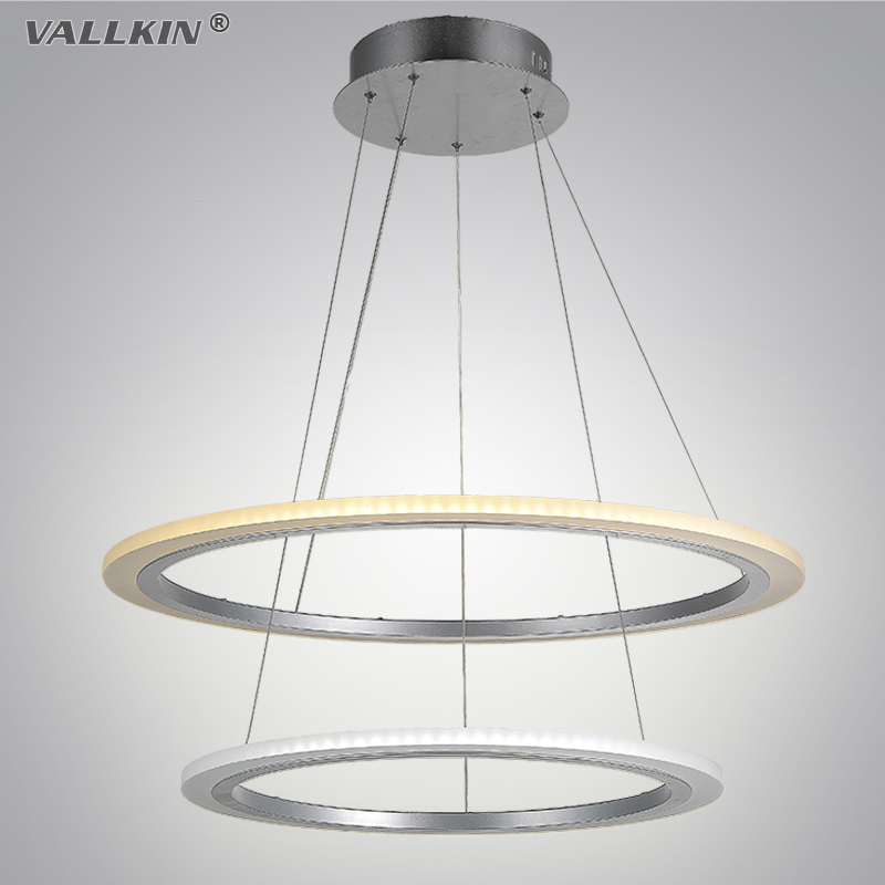 VALLKIN Modern Rings LED Pendant Lights for Dining Room White Acrylic Circles LED Pendant Lamp Lustres LED Lamparas de techo 42W 40cm acrylic round hanging modern led pendant light lamp for dining living room lighting lustres de sala teto