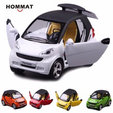 HOMMAT 1:24 Simulation Smart ForTwo Alloy Metal Diecast Vehicle Toy Car Model Metal Kids Gift Car Toys For Children Pull Back