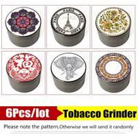 MUXIANG 6pcs/lot colorful 4 layper Zinc titanium metal Herb grinder smoking tobacco grinder cf0044 cf0065