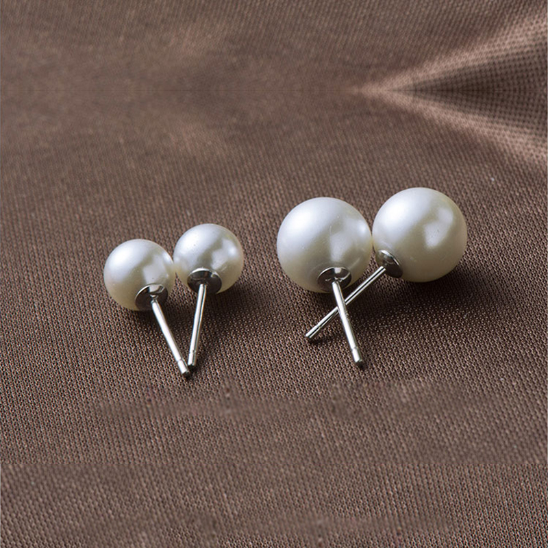 VICHOK 6/8mm natural fleshwater pearl stud earrings 925 sterling silver classical ball earrings jewelry brincos