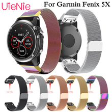 26mm Milanese Watch Strap Replacement Magnetic Loop Metal Wristband stainless steel Watchband for Garmin Fenix 5X Plus Straps