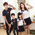 2016 summer dresses	mother daughter dresses	fashion	mom and daughter dress	cotton	family clothing	short sleeve	polka dot