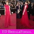 Oscar Emma Stone Vestido Alta Neck Celebridade No Tapete Vermelho Vestido de Noite do baile de Finalistas