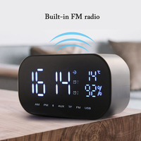 Alarm Clocks LCD Display FM Radio Clock Bluetooth Speaker Electronic Support Temperature Wireless Stereo Subwoofer Music Player