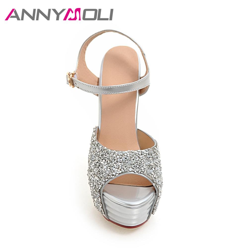 3558dc1b59255 Home   ANNYMOLI Women Shoes Platform High Heels Ladies Sandals Glitter Open  Toe Thin Heel Bridal Wedding Shoes White Large Size 33-43. Previous. Next