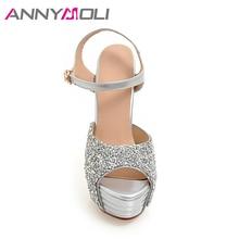 ANNYMOLI Women Shoes Platform High Heels Ladies Sandals Glitter Open Toe Thin Heel Bridal Wedding Shoes White Large Size 33-43