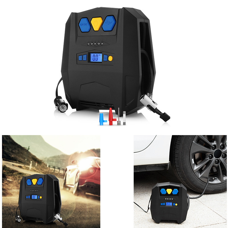 Digital Tire Inflator DC12V LED Portable Pump 150PSI Auto Air Compressor for Inflatable Boat Bicycle USB Inflation Pumps 4 units