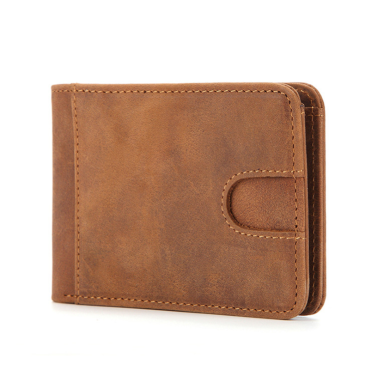 Cow Leather Rfid Money Clip Front Pocket Wallet Genuine Leather Vintage Mens Wallets For Money And Cards Slim Moneyclip Case