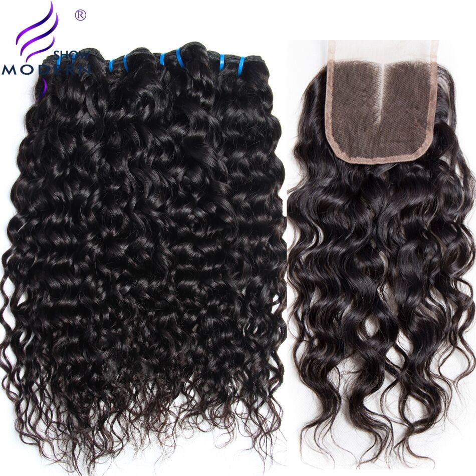 Water Wave 3 Bundles with Closure Brazilian Hair Weave Bundles Modern Show Human Hair Bundles with Closure Middle Part Non Remy