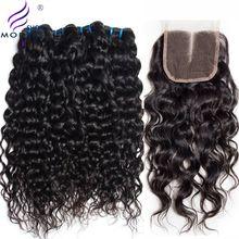 Wasserwelle 3 Bundles mit Verschluss Brasilianische Haarwebart Bundles Moderne Show Menschliches Haar Bundles mit Schließung Mittelteil Nicht Remy
