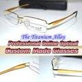 Титановый сплав half-диска золотой оправе джентльмен оптические на заказ оптические линзы близорукость очки - 1 - 1.5 - 2 - 2.5 - 3 - 3.5 - 4to - 6