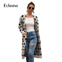Autumn Polka Dot Winter Long Cardigan Women Knitted Sweater 2019 Casual Open Stitch  Pockets Off Shoulder Sweater Coat Plus Size plus open shoulder sweatshirt