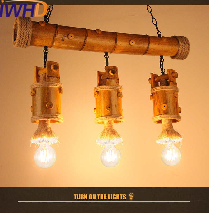 IWHD American Style Loft Industrial Vintage Pendant Lights 3 Heads Retro Bamboo Hanging Lamp Living Room Hanglamp Home Lighting iwhd american style wood vintage pendant light fixtures iron retro loft industrial hanging lamp led living room hanglamp lustre