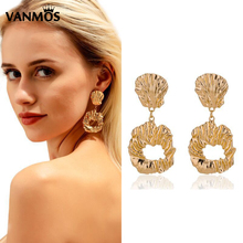 Vanmos Statement Large Shell Women Drop Earrings Vintage Charm Geometric Dangle 2019 New Fashion Heavy Metal Brincos