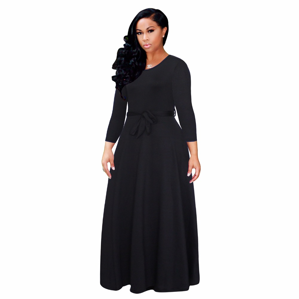2017 New Arrival Women Maxi Dresses suit collar o-Neck Long Sleeve Womens Fashion solid color Long Party Dress 3119