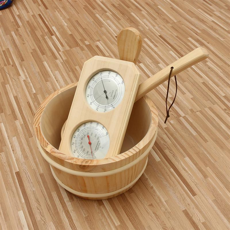 Thermometer Hygrometer + Dipper + Bucket 3pcs/set Pine Wood Sauna Accessory Set 20-140C